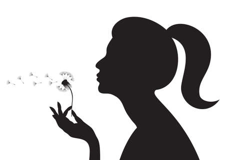 Silhouette of a girl blowing on a dandelion. illustration.