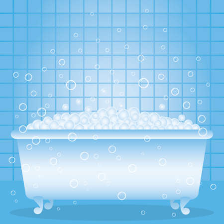 cleaning bathroom: a bathtub with foam and bubbles.