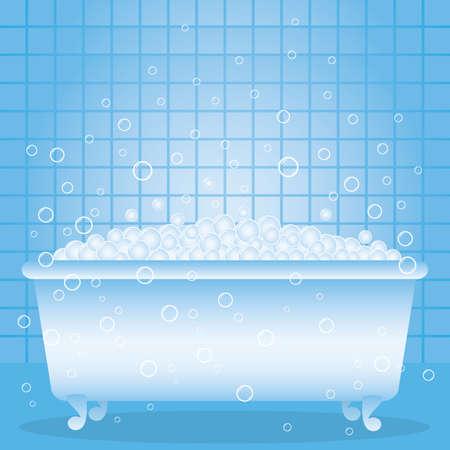 una vasca da bagno con schiuma e bolle.
