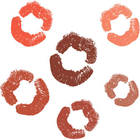 changing color: Una barra de labios beso en diferentes colores. Editable sobre el cambio de color. Vectores
