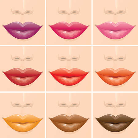 Set of multicoloured female lips.