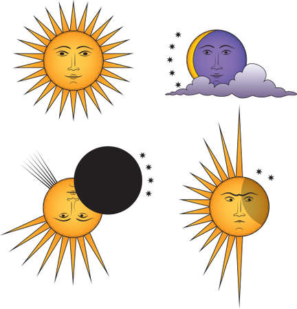 Set of funny suns. Smiling Sun, Angry Sun, Moon, Solar Eclipse. Vector