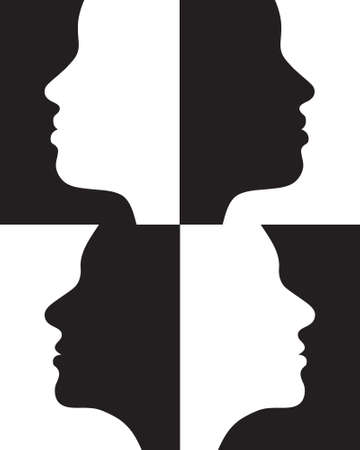 Positive and negative female silhouettes. Vector