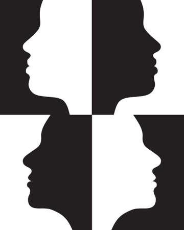 Sagome femminili positivi e negativi.