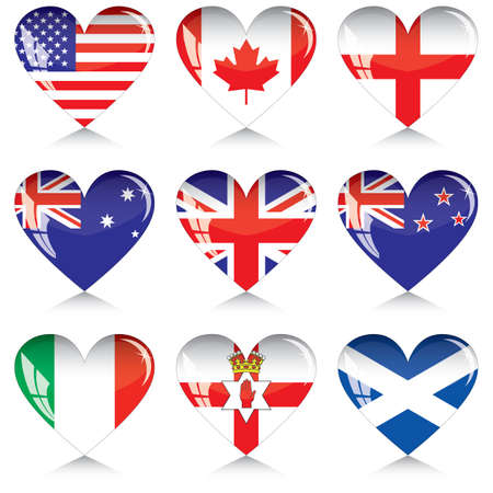 british culture: English-speaking countries flags buttons in a shape of heart. Each one on a separate layer. Illustration