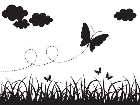 Picture with seamless grass, clouds and butterflies. Black silhouettes on white background. Vector