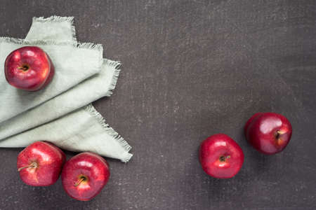 dishcloth: Red apples on a painted background with a grey dish-cloth