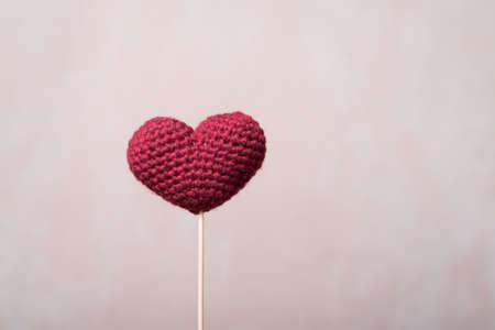 wooden stick: Crocheted heart on a wooden stick