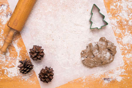 Making cookies in shape of Christmas tree Stok Fotoğraf