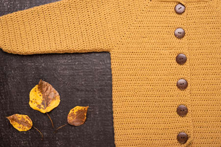 Autumn composition with a yellow crocheted cardigan and dried leaves on a black background.