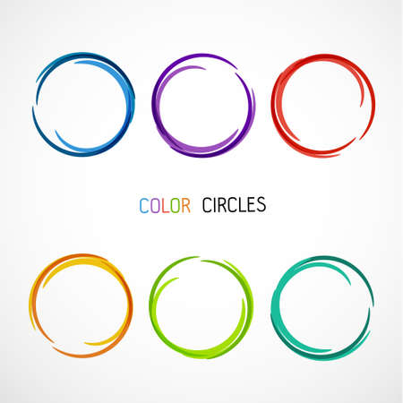 Zes kleur cirkels set Stock Illustratie