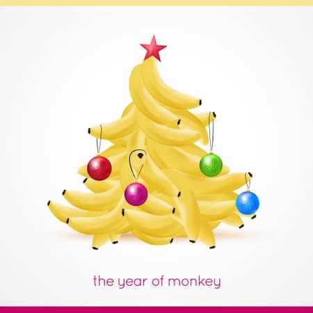 illustation: Banana xmas tree. Vector illustation. Merry christmas