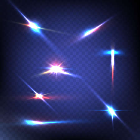blue stars: Abstract image of lighting flare. Set. Vector illustration