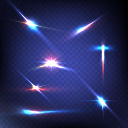light: Imagen abstracta de iluminación de bengala. Conjunto. Ilustración vectorial