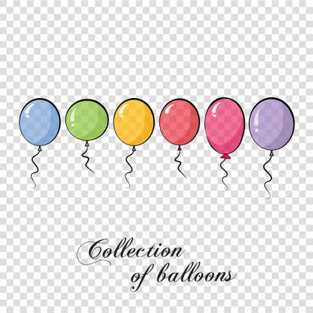 Collection of color balloons. Background with multicolored balloons. Vector 10 EPS. Transparent.