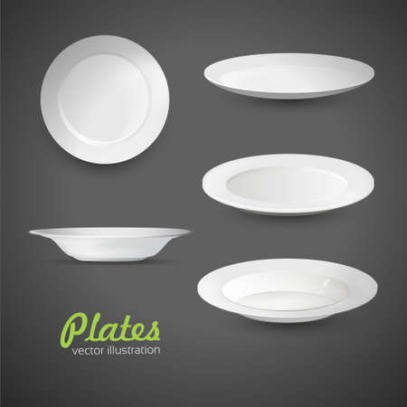 banquet table: set of empty white plate on the grey background.