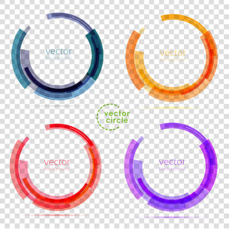 技術: 圈集。矢量插圖。業務抽象圓圈圖標。企業,媒體,技術風格的矢量標誌設計模板。透明 向量圖像