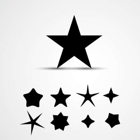 preto: Ícone da estrela do vetor. Conjunto. Ilustração