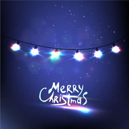 adornos navidad: Colorido de las luces de navidad que brilla intensamente. Vector