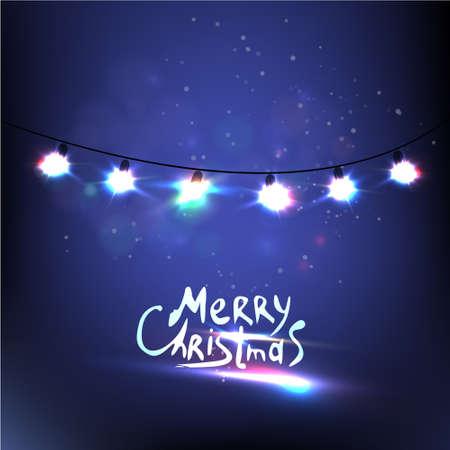 Kleurrijke Gloeiende Lights Kerstmis. Vector Stock Illustratie