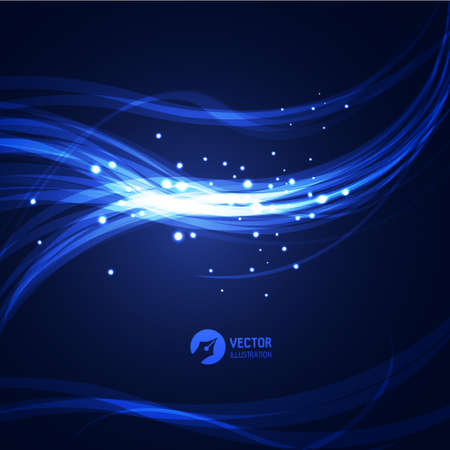 blue light background: Abstract glowing lines. Vector Illustration