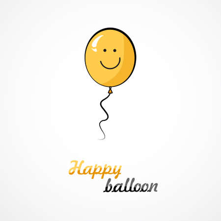 white smile: Yellow balloon with smile on white background