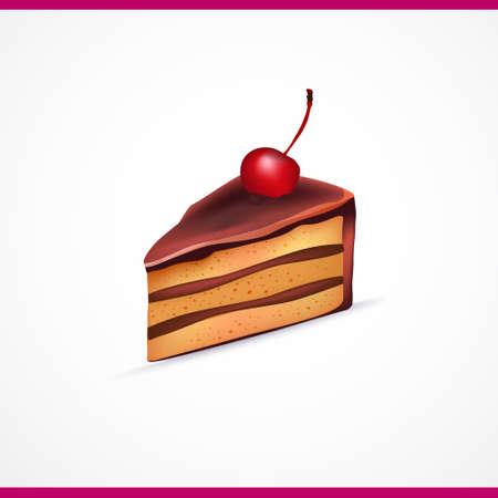 pastel de chocolate: Pedazo de torta vector