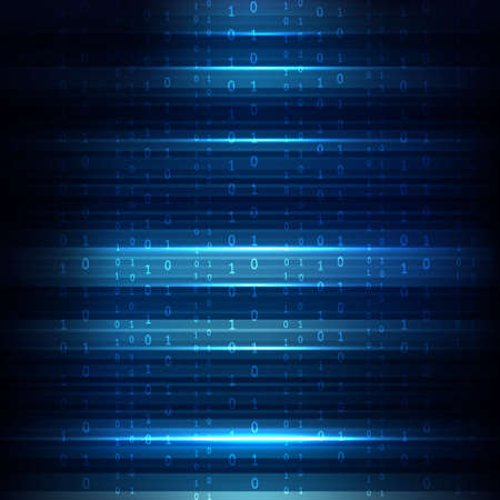 Abstract Blue Technology Background. Binary Computer Code. Programming / Coding / Hacker concept. Vector Background Illustration.