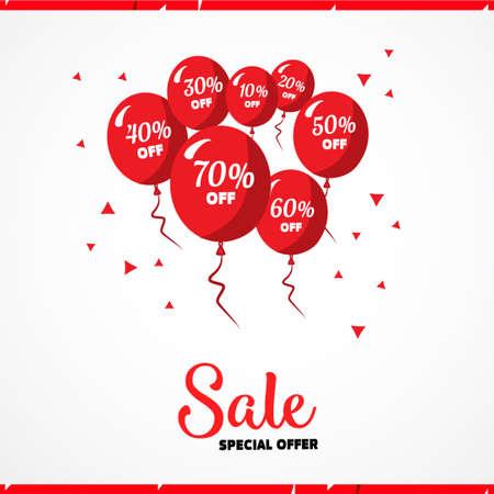 Affiche van de verkoop. Vector illustratie. Design template voor vakantie verkoop evenement. Rode ballonnen met procenten. Originele feestelijke decor voor winkel grand opening verjaardag