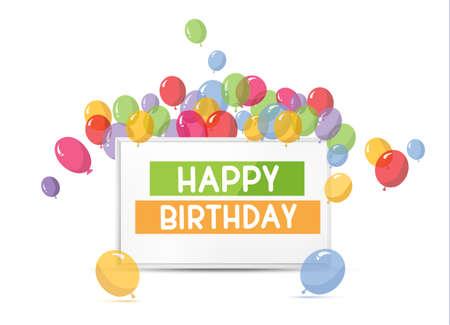 marco cumpleaños: Tarjeta de cumpleaños con los globos y el marco.