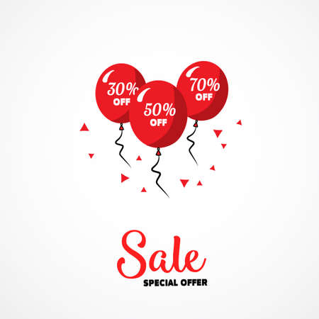 grand open: Sale poster. Vector illustration. Design template for holiday sale event. Open box and red balloons with percents. Festive backdrop for shop grand opening birthday celebration. Business for you.