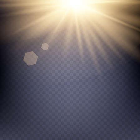 Geel warm licht effect, zonnestralen, stralen op transparante achtergrond. Vector illustratie. Stock Illustratie