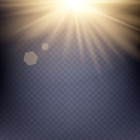 light beams: Yellow warm light effect, sun rays, beams on transparent background. Vector illustration.