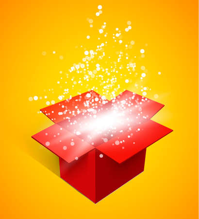 christmas gift box: Open gift box and magic light fireworks Christmas vector background