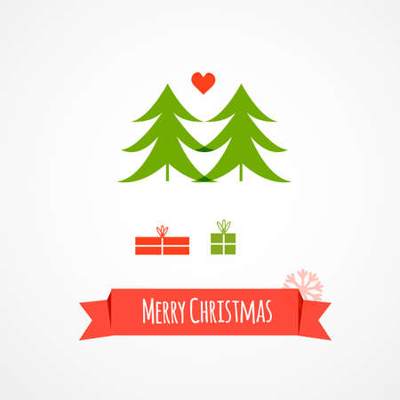 original single: Christmas trees. Vector illustration