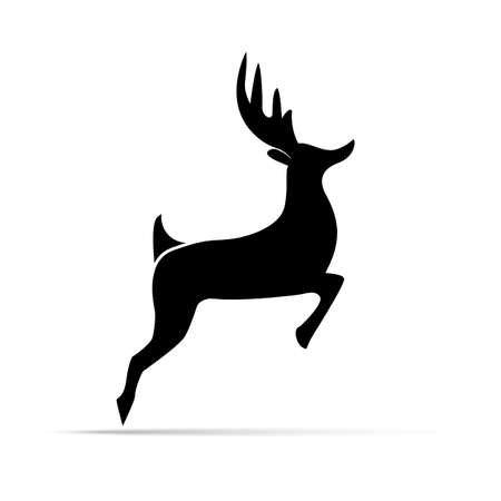 pairs: silhouette deer with great antler  animal  vector illustration Illustration