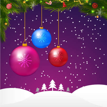 Snowy Christmas Night Landscape with balls. Vector illustration