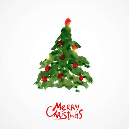 Kerstboom, aquarel