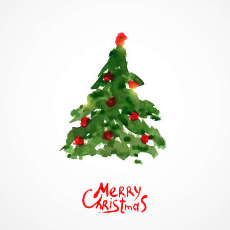 Weihnachtsbaum, Aquarellmalerei Vektorgrafik