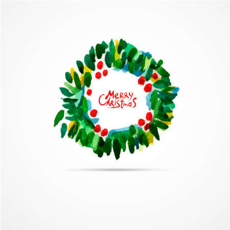 wreathe: Green christmas wreath with decorations isolated on white background. Watercolor