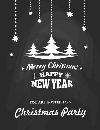 decoration style: Christmas typographic label for Xmas and New Year holidays design. Calligraphic vector Decoration. Chalkboard Style. Badge. Christmas party.