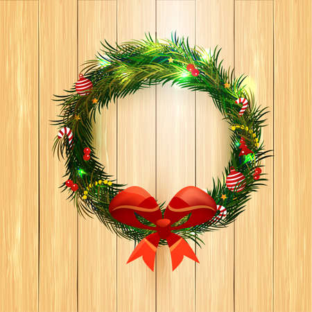WOOD BACKGROUND: Realistic Christmas coniferous wreath isolated on the wood background. Vector Illustration, contains transparencies