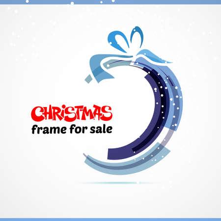 bow ribbon: Christmas gift card with red ribbon and satin bow. Vector illustration. Circle and bow Illustration