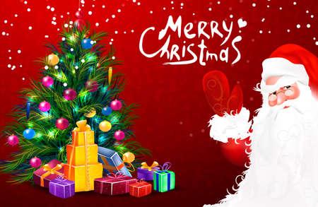 Santa xmas tree with gift. Merry christmas