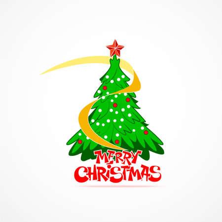 original single: Beautiful christmas tree cartoon vector. Illustration