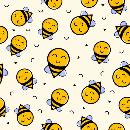 Cute seamless pattern with flying bees. Vector illustration