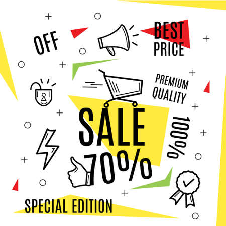 Big sale banner, best offer, illustration. Set of trendy flat geometric vector banners. Design style. Red and yellow colors. Seamless pattern