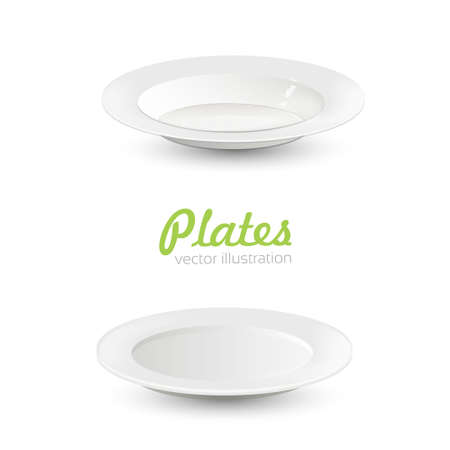 Set of empty white plate