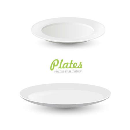 Set of empty white plate Ilustrace