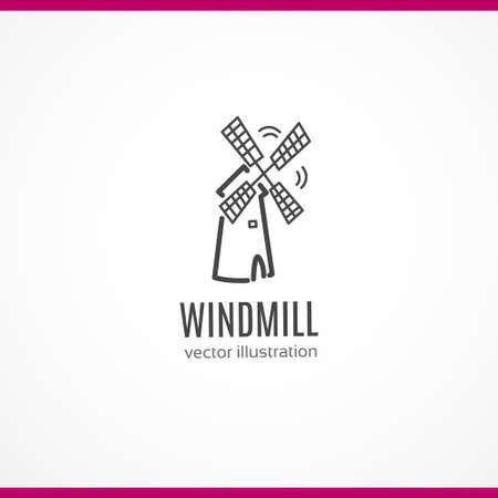 Windmill black line icon Ilustrace